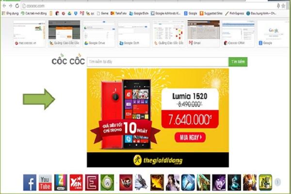 Quảng cáo icon trên trang chủ trình duyệt